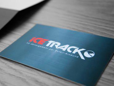 Création de la marque Ice Track par l'agence de communication Nowooo (Pau) : logo, site web, catalogue, carte de voeux...