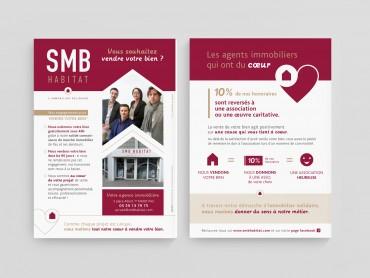 Création graphique et conception publicitaire du flyer SMB Habitat par l'agence de communication Nowooo (Pau)