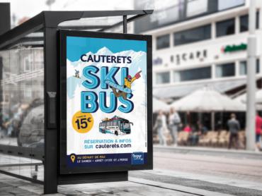 Création de l'affiche Skibus Cauterets par l'agence de communication Nowooo